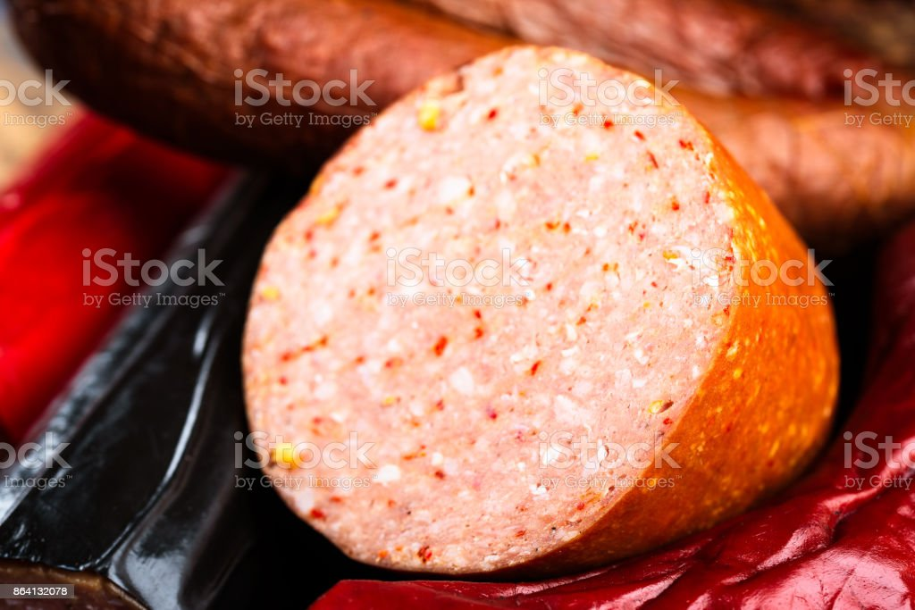 Detail of sausage inside royalty-free stock photo