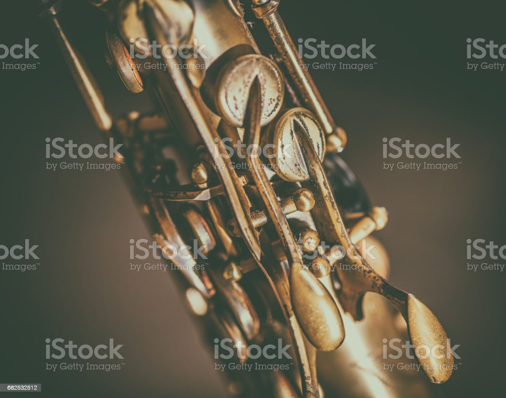 Detail of saxophone keys stock photo