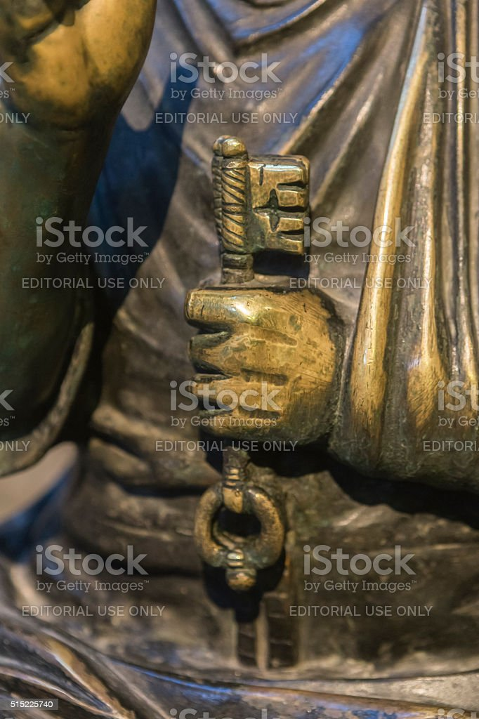 Detail of Sculpture in bronze of St. Peter enthroned, Cathedral stock photo