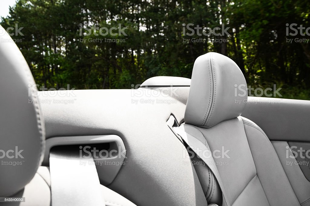 Detail of seat belt on a cabriolet or sports car stock photo