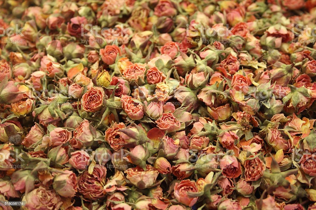 Detail of several small dry roses stock photo