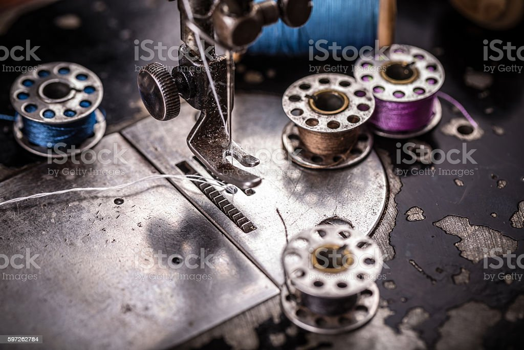 Detail of sewing machine stock photo