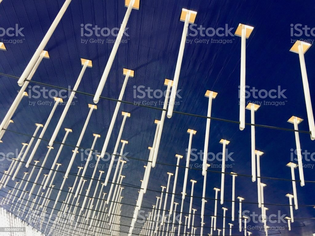 Detail of Shanghai Pudong airport ceiling at departure area stock photo