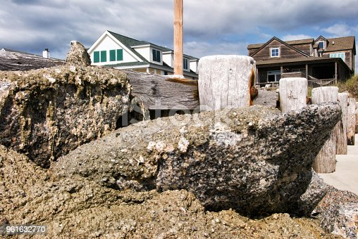 Shoreline structures of wood and rocks create a groin on a South Carolina beach to protect the nearby homes from sand erosion.