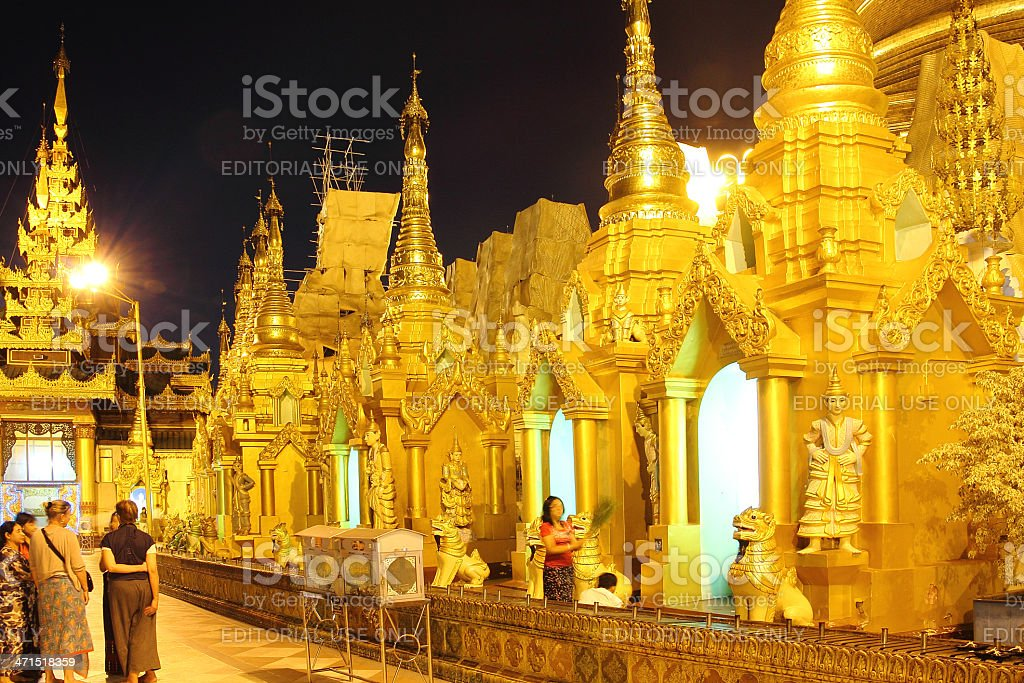 Detail of Shwedagon pagoda at night royalty-free stock photo