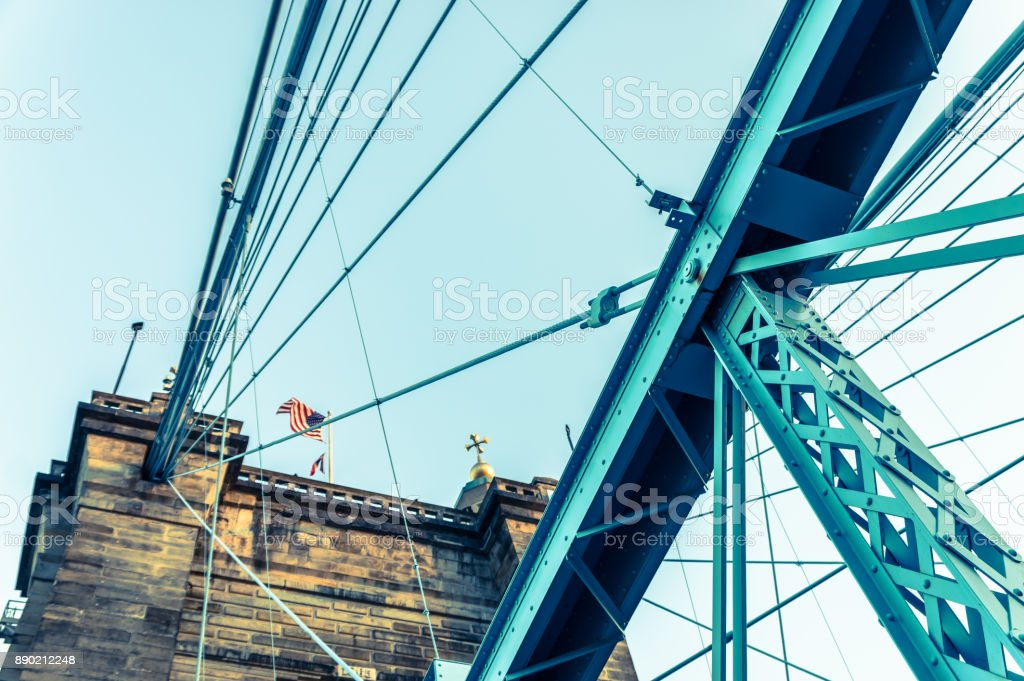 Detail of steel structure and pier of suspension bridge stock photo