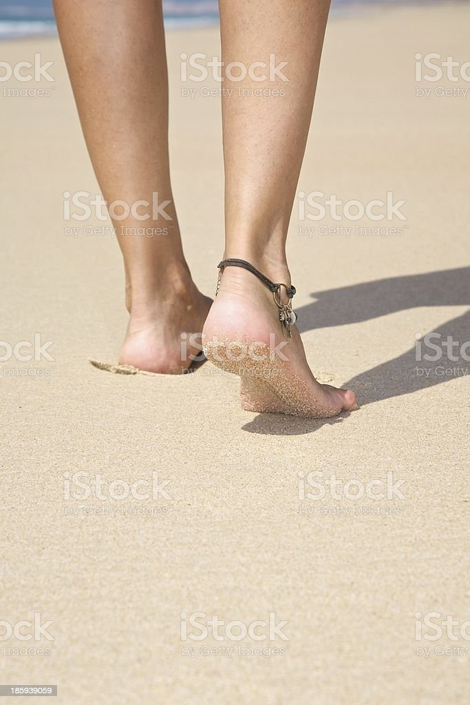 detail of step on sandy beach royalty-free stock photo