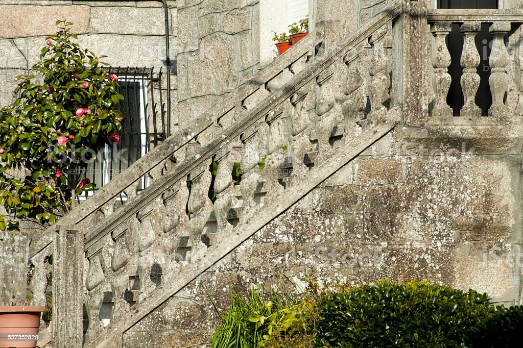 Detail Of Stone Balustrade And Staircase Front Yard Stock Photo