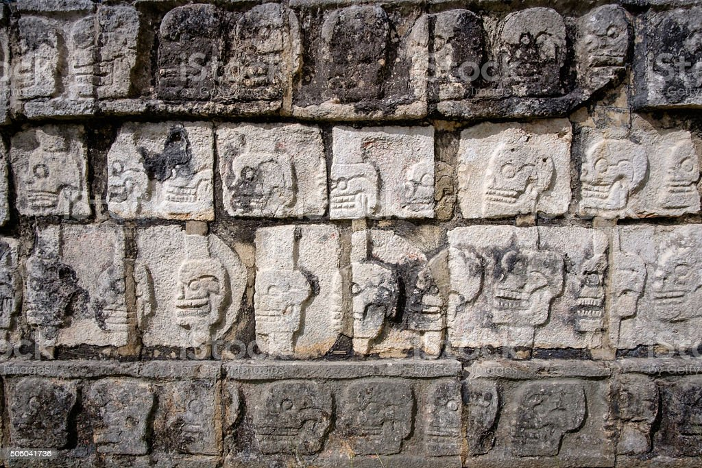 Detail of stone carvings in famous archeological site Chichen It stock photo