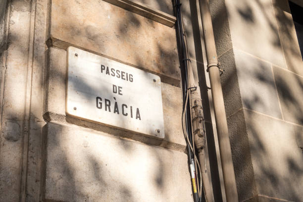 Detail of street sign of Passeig de Gracia (Gracia's Avenue) in Barcelona, Spain Detail of street sign of Passeig de Gracia (Gracia's Avenue) in Barcelona, Spain. passeig de gracia stock pictures, royalty-free photos & images
