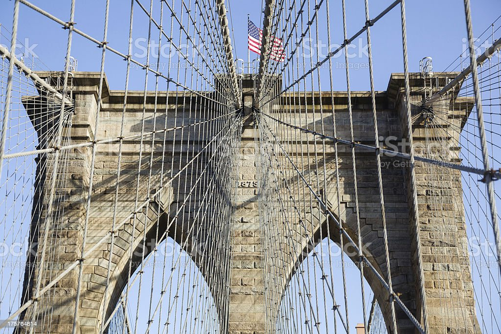 Detail of suspension on Brooklyn Bridge royalty-free stock photo