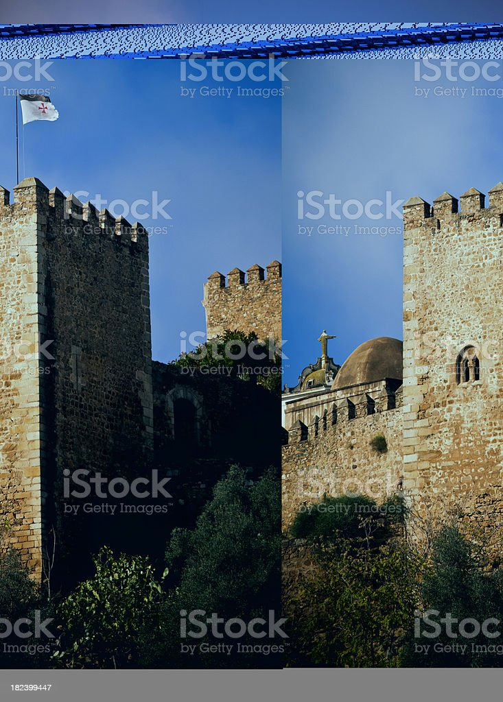 detail of Templars castle in Jerez de los Caballeros royalty-free stock photo