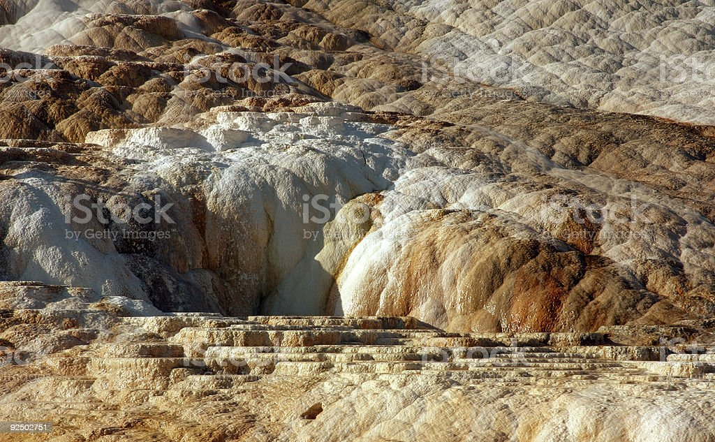 Detail of texture on Mammoth Hot Springs royalty-free stock photo