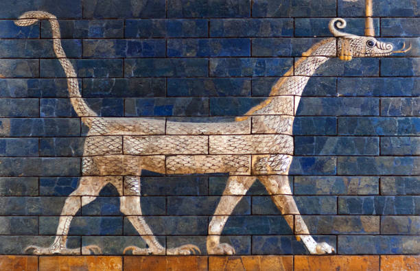 Detail of the ancient Babylonian Ischtar Tor stock photo