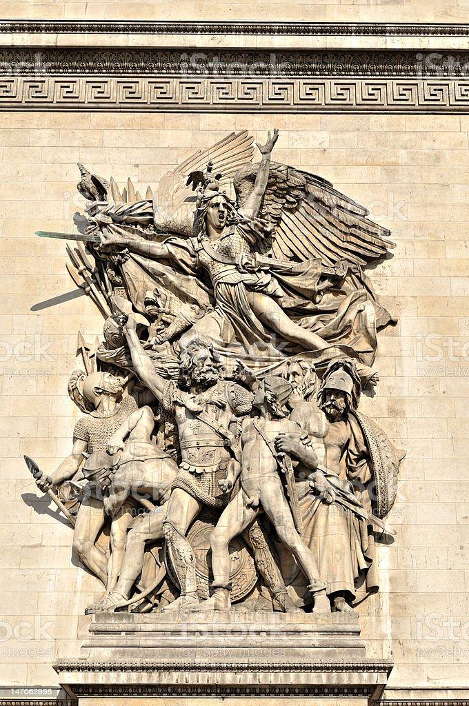 Detail of the Arc de Triomphe, Paris stock photo