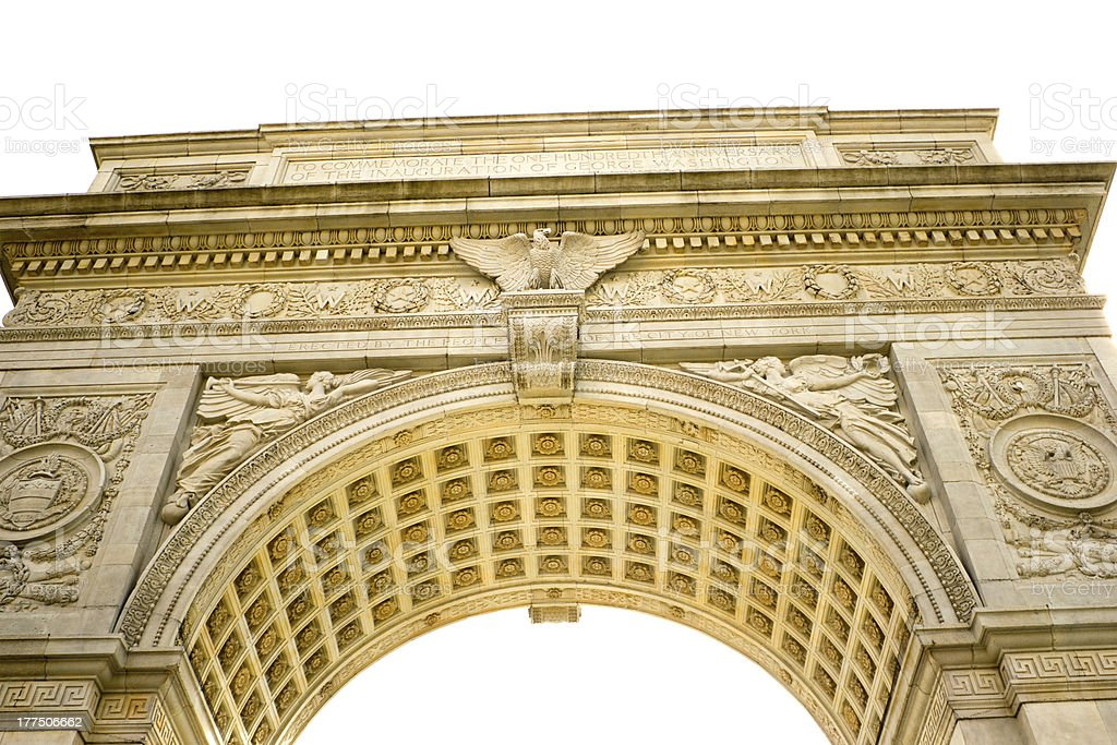 Detail of the arch in Washington Square, NYC stock photo