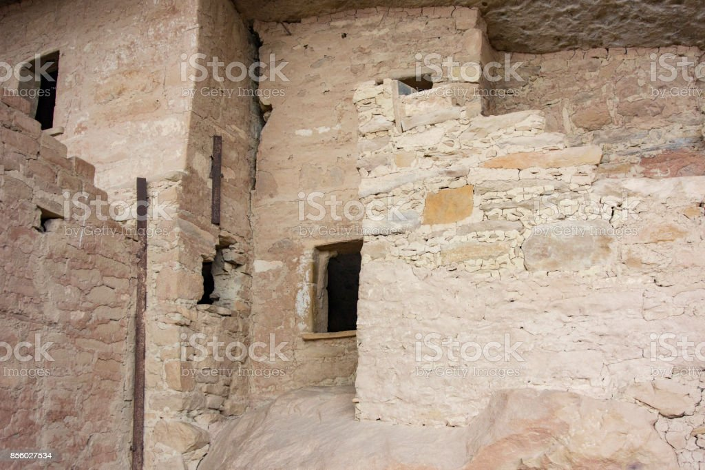 Detail of the beautiful stone masonry found inside the Balcony House constructed by ancestral Pueblo people in Mesa Verde National Park stock photo