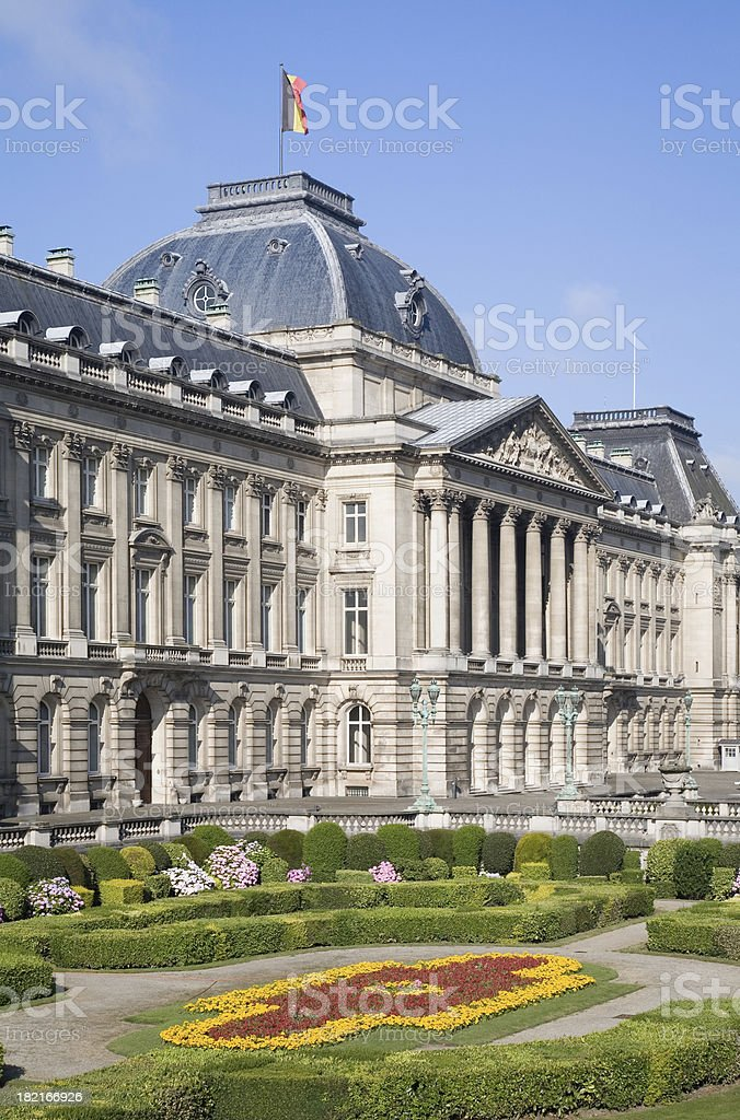 "Detail of the Belgian Royal palace in Brussels ""The Belgian Royal palace in Brussels, in neo-classic style. Built in 1820, on the foundations of the original 12th century Coudenberg palace."" Architecture Stock Photo"
