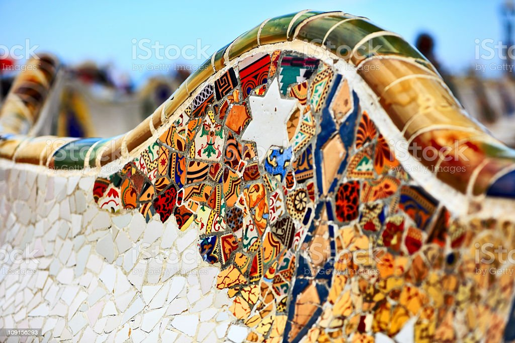 Detail of the bench by Gaudi in Parc Guell. stock photo