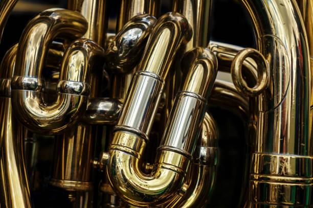 Detail der Messing-Rohre eine Tuba – Foto