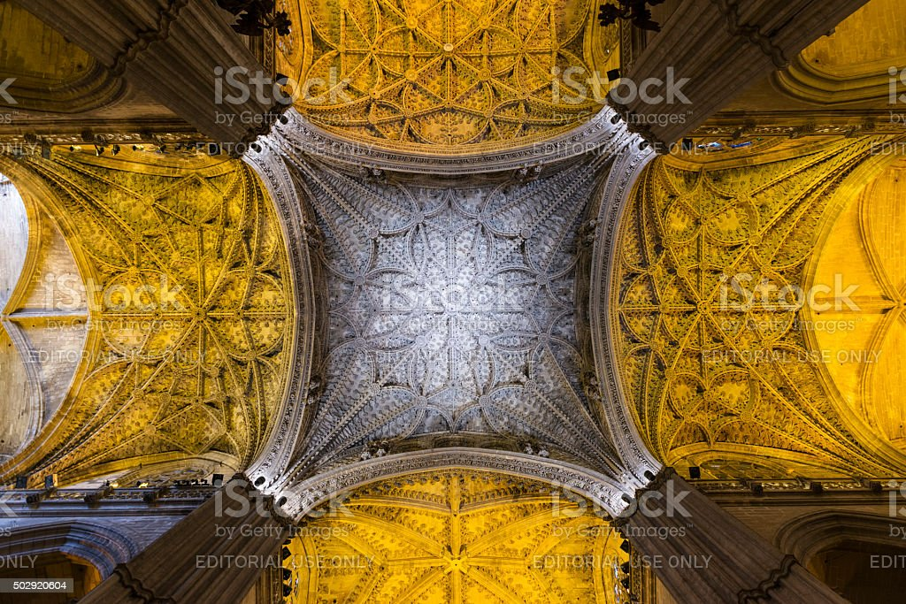 Detail of the ceiling inside Seville Cathedral stock photo