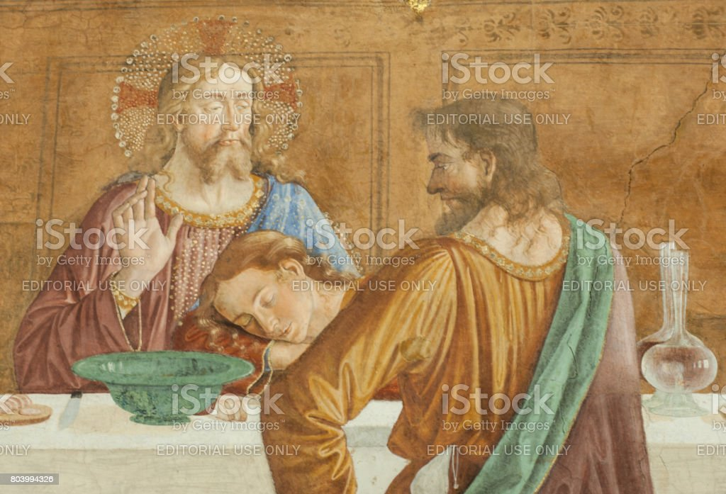 A detail of the Cenacolo, by Domenico Ghirlandaio stock photo