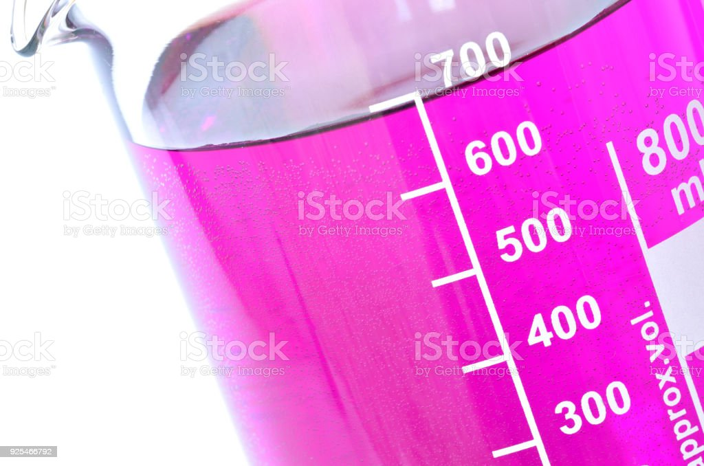 Detail of the chemical containers with potassium permanganate stock photo