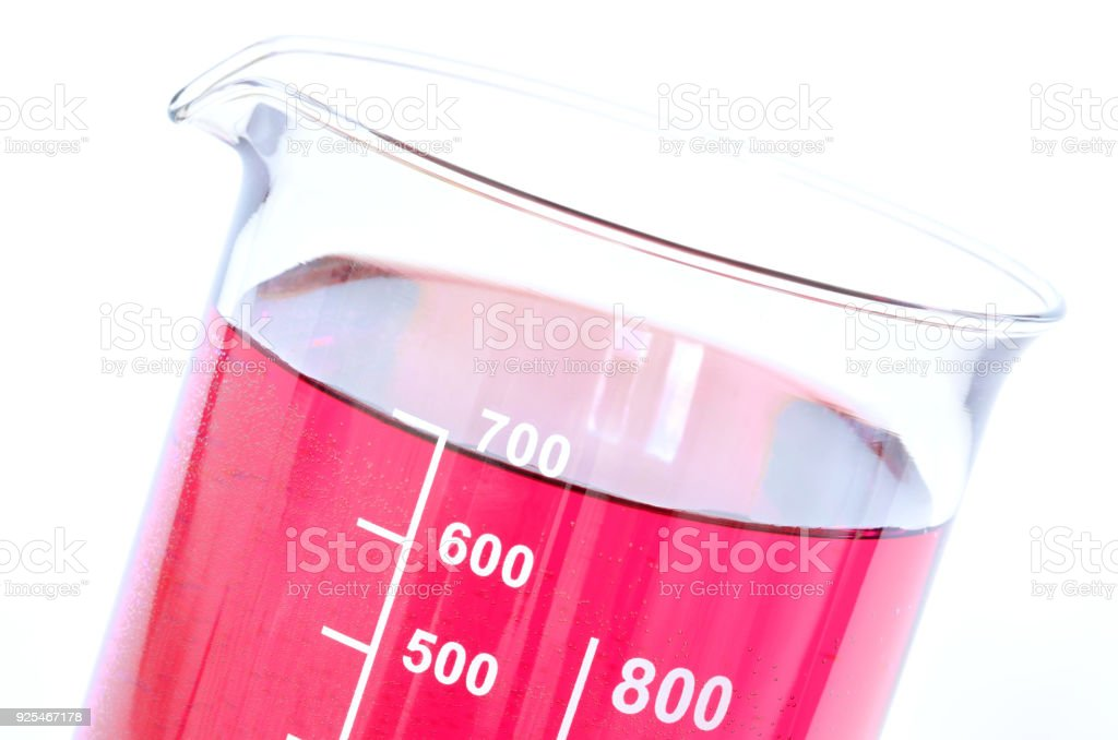 Detail of the chemical containers with red chemicals stock photo