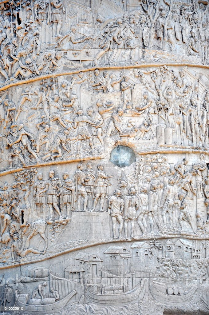 Detail of the Column of Traianus, Trajan's column. Rome, Italy stock photo