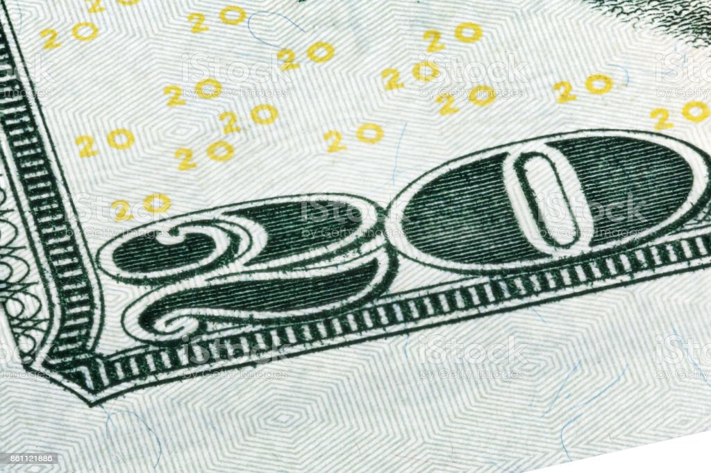 Detail of the corner of a 20 dollar bill stock photo