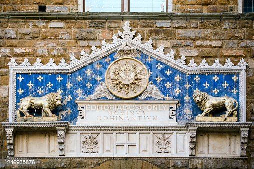 Florence, Italy, March 20 --  A detail of the doorway on the facade of Palazzo Vecchio, in Piazza della Signoria, with the drawings and sculptures of the lily, the flower symbol of economic, political and militarist rule of the Medici dynasty in the ancient Florence.