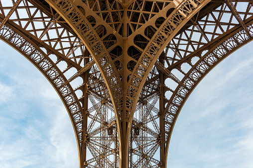 Detail of the Eiffel Tower in Paris, France