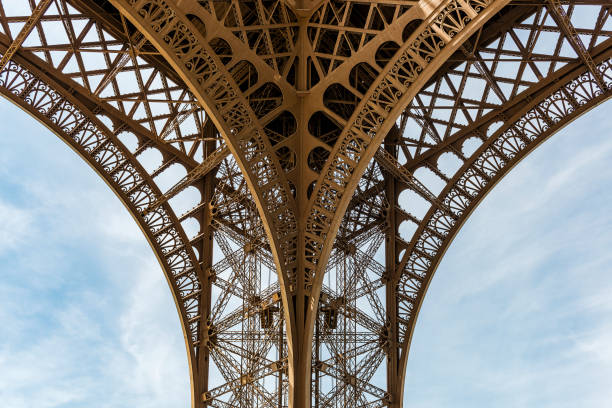 Detail of the Eiffel Tower in Paris, France stock photo