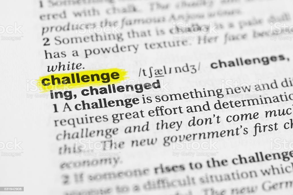 Detail of the english word 'challenge' and its meaning stock photo