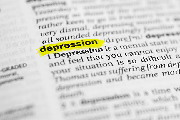 """Detail of the english word """"depression"""" and its meaning stock photo"""