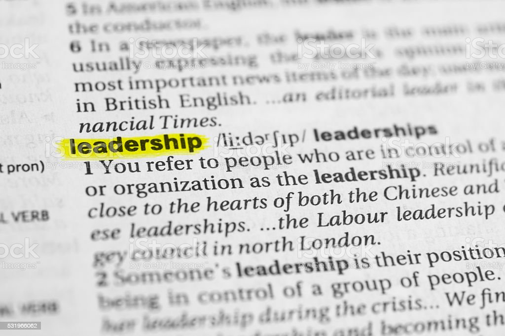 Detail Of The English Word Leadership And Its Definition Stock Photo