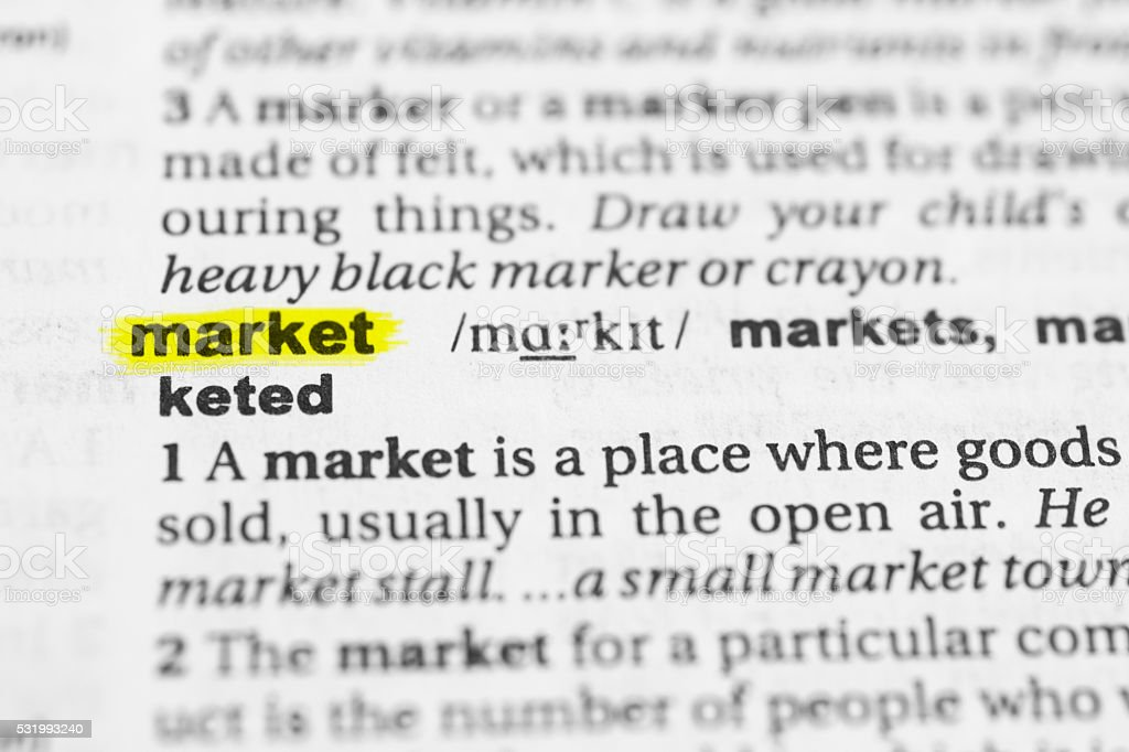 Detail Of The English Word Market And Its Definition Stock Photo