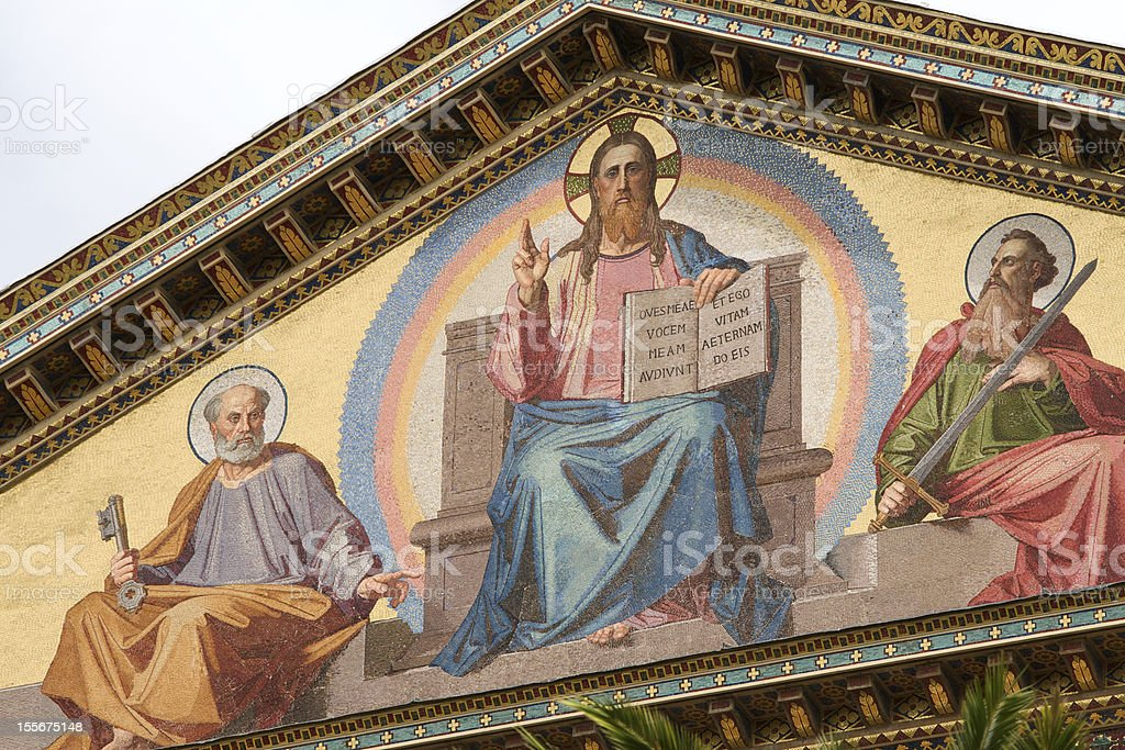 A detail of the facade decoration in St. Paul Basilica stock photo
