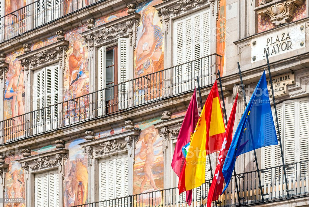 Detail of the facade of Casa de la Panaderia ( Bakery House ), Plaza Mayor, Madrid, stock photo