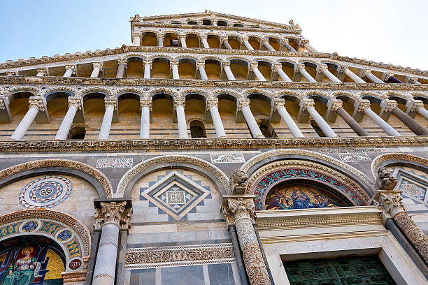 Detail of the facade of the cathedral of Pisa.