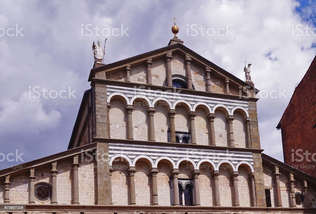 Detail of the facade of the Cathedral of Sain Zeno, Pistoia royalty-free stock photo