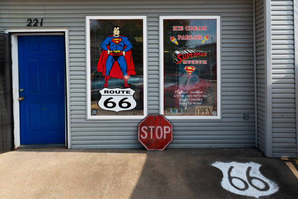 Detail of the facade of the SuperTam ice cream parlour and Supermen museum, along the historic route 66 in the city of Carterville, in the State of Missouri stock photo