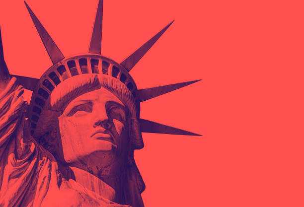 detail of the face of the statue of liberty with a red duo tone effect detail of the face of the statue of liberty with a red duo tone effect. Red Background american culture stock pictures, royalty-free photos & images