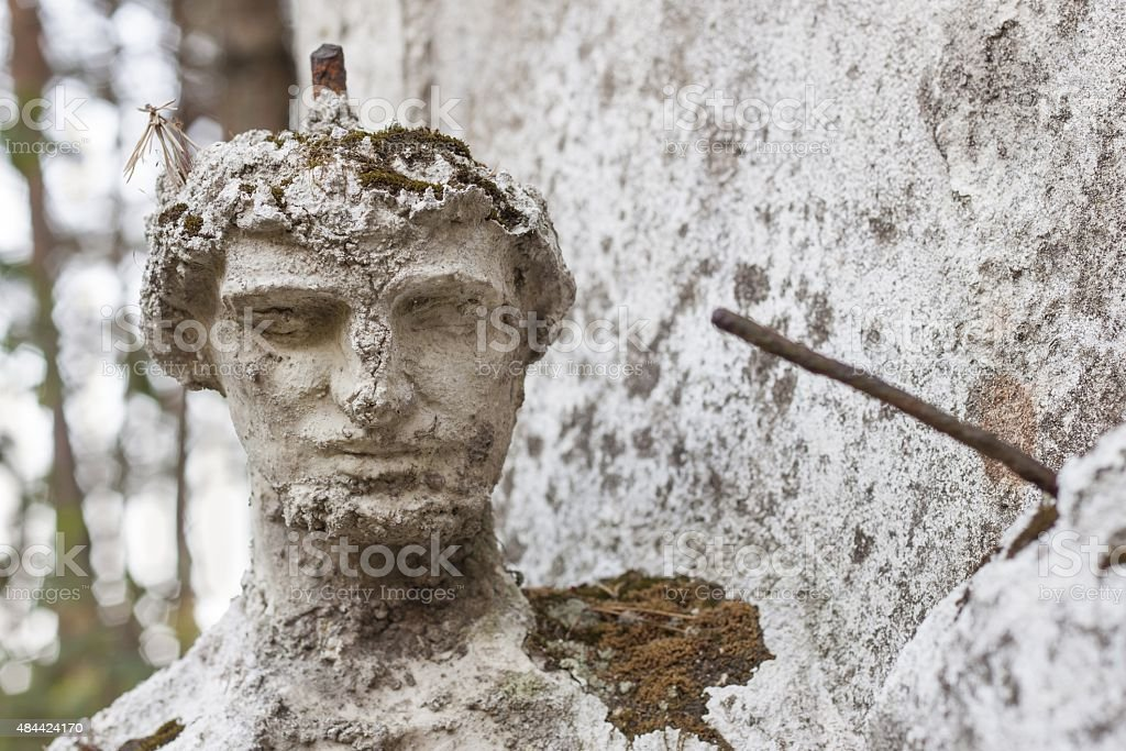 Detail of the face smashed historic statues. stock photo