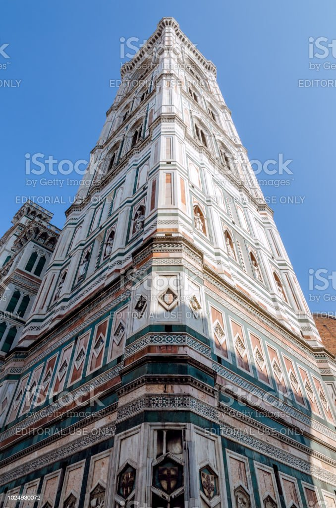 detail of the famous giottos campanile florence italy stock photo