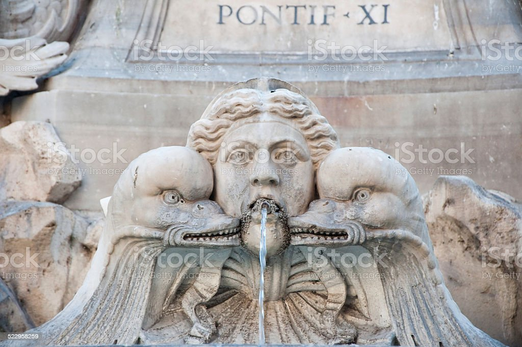 Detail of the Fontana del Pantheon in Rome, Italy. stock photo