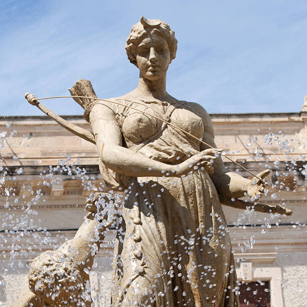 Detail of the Fountain of Diana Detail of the Fountain of Diana. Siracusa. Sicily. Italy artemis stock pictures, royalty-free photos & images