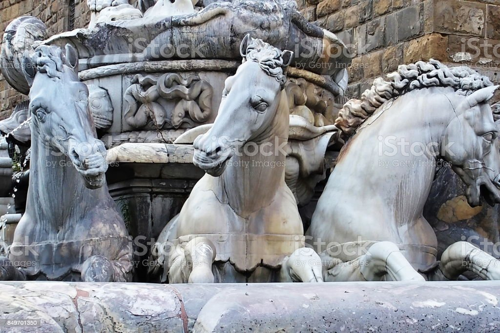 Detail of the fountain of Neptune on Signoria square, Florence stock photo