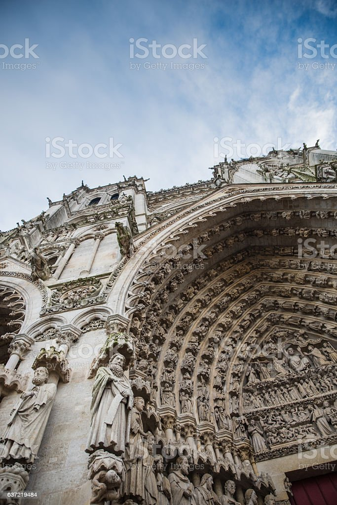 Detail of the front facade of the Amiens cathedral stock photo