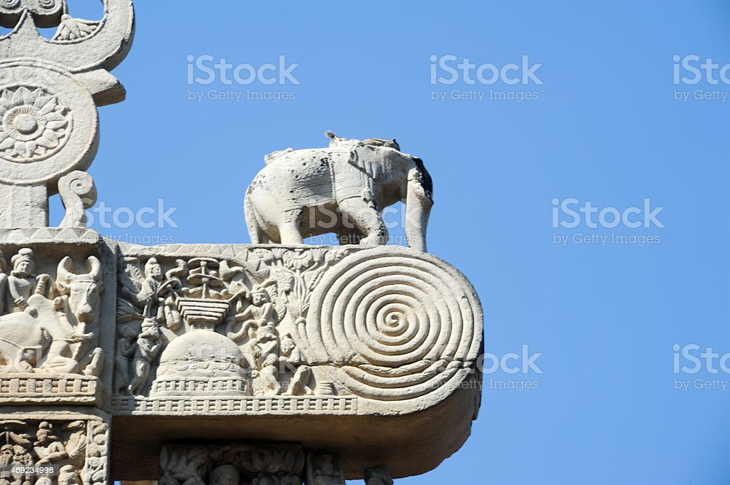 Detail of the gate at Great Buddhist Stupa in Sanchi stock photo